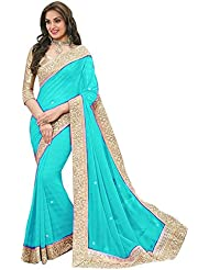 Sonani Fashion Designer Sky Blue Plain Georgette Party Wear Saree With Blouse Piece