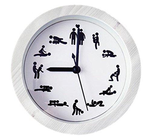 おもしろ アラーム クロック 目覚まし 時計 LT-354 (ホワイト&木目調ホワイト)