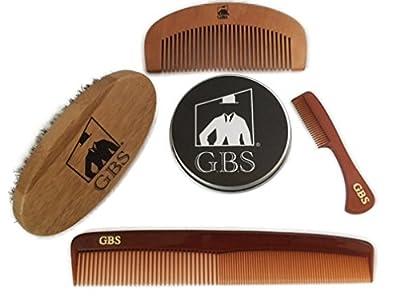 GBS Combo Set (4 Pc Kit) Premium Oval Wood Beard Brush with Boar Bristles, Bamboo All Fine Beard Comb, Tortoise Pocket Beard and Moustache Comb & Tortoise Dressing Comb