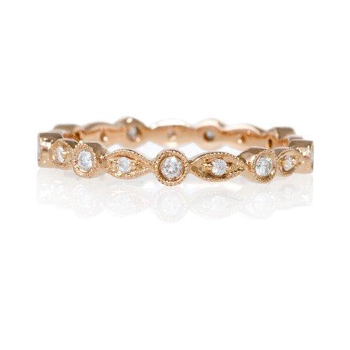 Diamond Antique Style 18k Rose Gold Eternity Wedding Band Ring