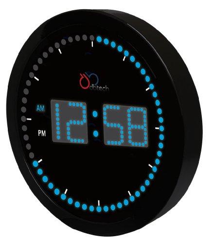 DBTech Time Sphere - Stylish Big Digital LED Clock with Circling LED second indicator - Round Shape (10 / Blue LED)