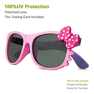 RIVBOS® RBK002 Rubber Flexible Kids Polarized Sunglasses Wayfarer Style for Baby and Children Age 3-10