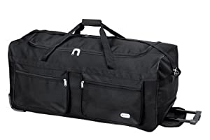 "34"" Extra Large 128L Capacity Wheeled Holdall Travel Sports Bag (TB034 Plain Black)"