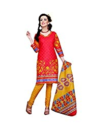 Rajnanidini women's Printed unstitched cotton salwar suit Dress material with duppta (red & green _free size)