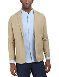 Zobello Mens Casual Solid Blazer(51105B_Sandy Grain Brown_X-Large)