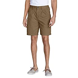 Eddie Bauer Men\'s Legend Wash Side-Elastic Chino Shorts, Saddle 46 Regular