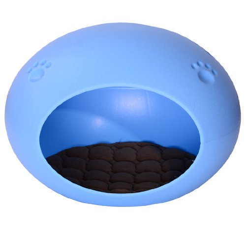 Pawhut Pet Dog / Cat Egg Shaped Pod Sleeping Bed House - Light Blue front-630708