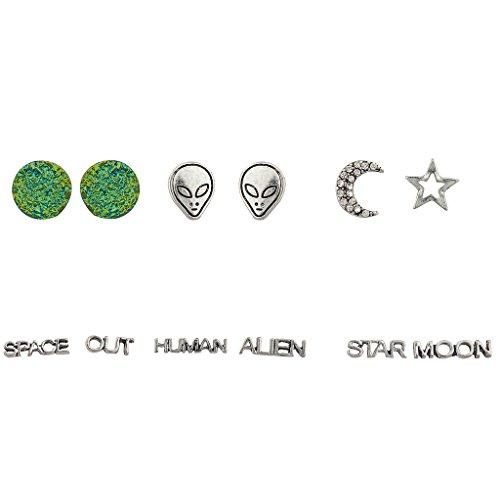 Lux accessori, colore: verde pianeta alieno Celestial Pave Crescent Moon Star umani Luna Orecchini Set