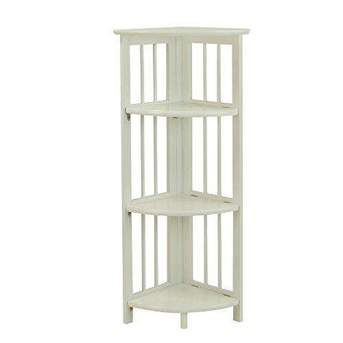 Casual Home 4-Tier Folding Corner Bookcase, White