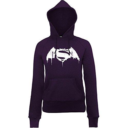 DC Comics Donna Batman v Superman Beaten Logo Felpa con cappuccio X-Large Viola