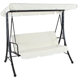 Balancelle de jardin terrasse fauteuil balançoire exterieur relaxation 3 places, beige