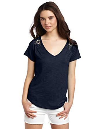 Lucky Brand Women's Collette Lace Tee, American Navy, X-Small