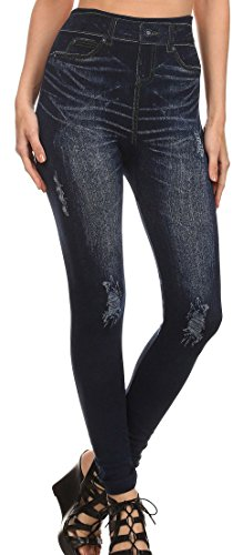 Simplicity Women's Denim Printed Faux Jeans Seamless Full Length Leggings