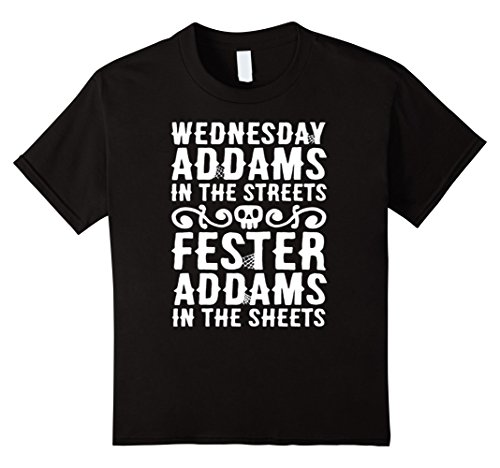 Kids WEDNESDAY ADDAMS IN THE STREETS T SHIRT HALOWEEN T SHIRT 10 Black