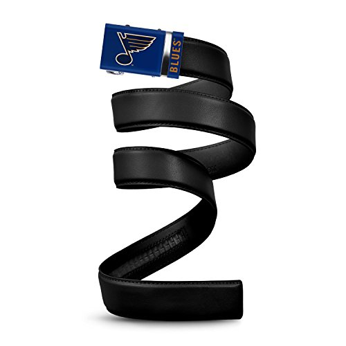NHL St. Louis Blues Mission Belt, Black Leather Ratchet Belt, Medium (Up to 35