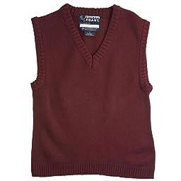 French Toast School Uniform Boys V-Neck Sweater Vest, Burgundy, 16