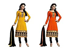 Khodal Cotton Salwar Suit Dress Material (Combo pack of 2) (combo1_Yellow & Orange)