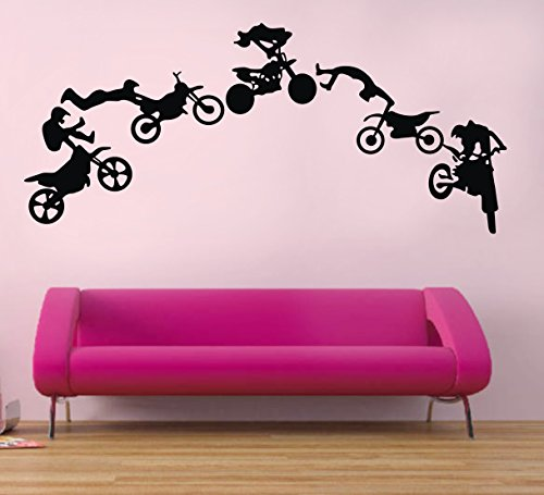 Colorfulhall 64X146Cm 5P Motorcycle Motorcross Player Extreme Sports Fans Decoration Removable Sticker For Boys Kid Chilldren Bedroom front-1047735
