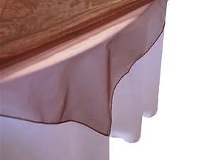 """72x72"""" Sheer Organza Wedding Table Overlays - Chocolate Brown"""