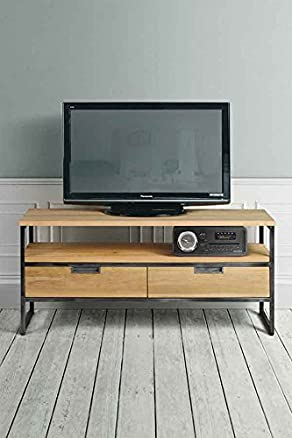 MY-Furniture QUBIX mobile/unità TV stile industriale in rovere massiccio e acciaio