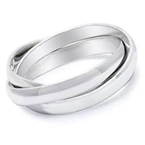 Triple band Ring (Three band ring - Russian Wedding Ring) (SIZE 5) - 3 rolling bands ring made from Top Quality 316L Stainless Steel Womens Rings Size 6, 7, 8, 9 & 10. Stainless Steel Eternity Trinity Rings for women rings for teens girls. Purity Ring or Anniversary Gifts for her. Commitment Ring - I Love you Gifts. (5)