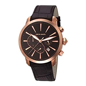 Pierre Cardin pc105431f10 44mm Gold Plated Stainless Steel Case Black Calfskin Mineral Men's Watch