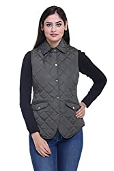 Trufit Sleeveless Solid Women's Olive Lightweight Quilted Without Zip Golden Buttons Polyetser Jacket
