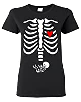Pregnant X-ray Baby BOY Skull Women T Shirt Halloween Shirts