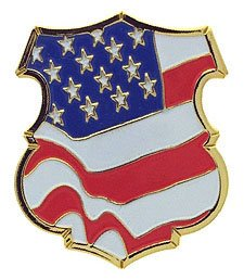 US Flag Police Shield Pin 12 Pack