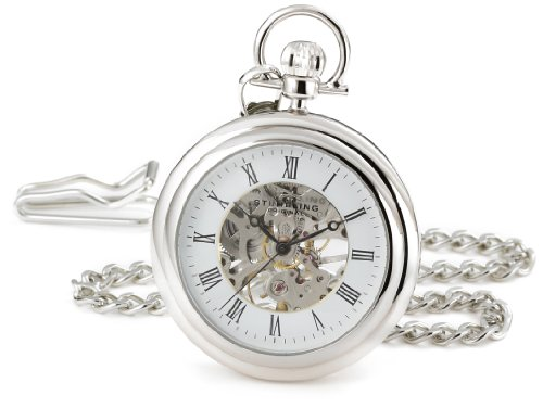 Stuhrling Original Pocket Watch 6053.33113 Special Reserve Montres de Poche Vintage Mechanical Skeleton Stainless Steel Watch