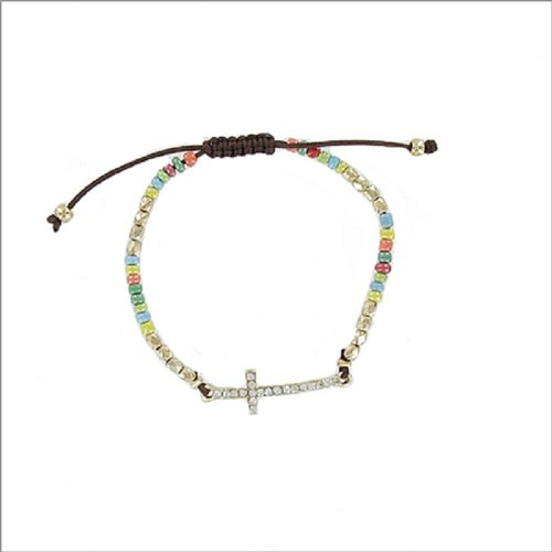 JOA Small Stone Cross W Seed Bead Bracelet #040077