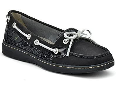 Sperry Top-Sider Women's Angelfish Slip-On,Black/Charcoal Glitter,5 M US