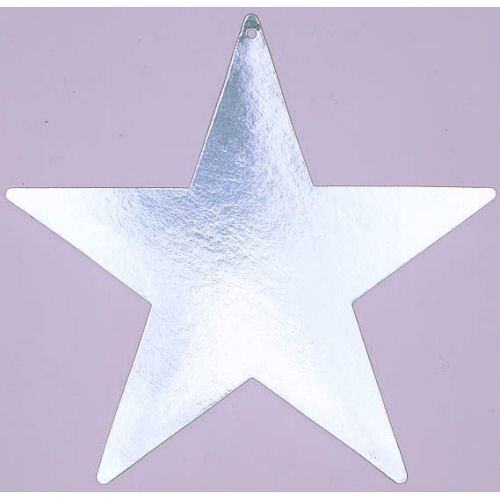 "Amscan Shiny Bulk Foil Star Party Cutouts, 15"", Silver"