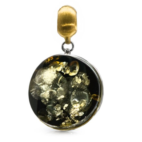 French Collection Green Amber and 24K Gold Plated Sterling Silver Large Round Pendant