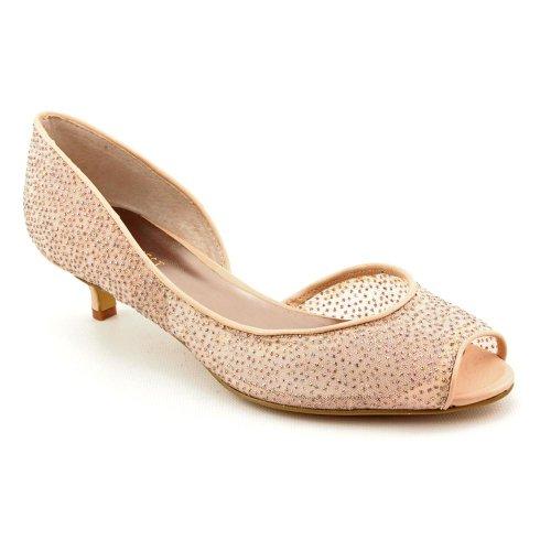 Nine West Belizeit Womens Size 7 5 Nude Peep Toe Textile Pumps Heels Shoes