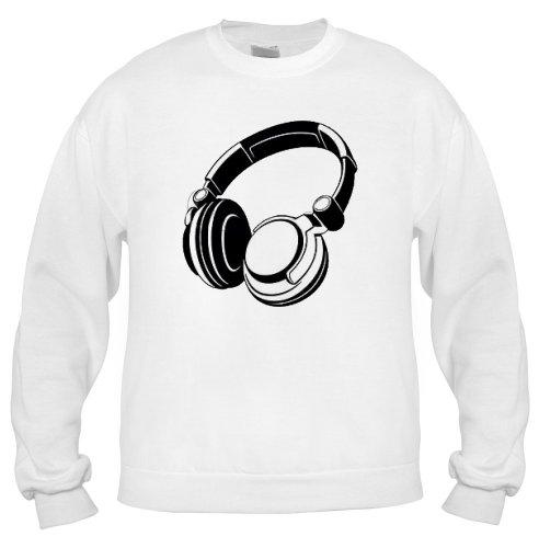 Headphones Adult Sweatshirt, White , Large