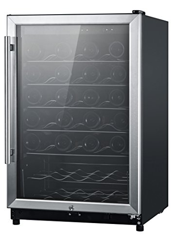 Midea WHS-168WES1 45-Bottle Free Standing Wine Cooler, Wood Shelves, Black with Stainless Steel Door (Iron Wine Cellar Doors compare prices)