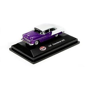 Model Power HO Scale Die-Cast 1955 Chevy Belair, Purple/White
