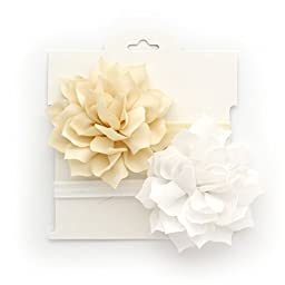 My Lello 2 Pack Infant Baby Headbands Mixed Colors Fabric Petal Flower (Ivory/White)