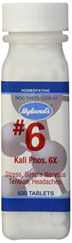Hyland's Cell Salts #6 Kali Phosphoricum 6X Tablets, Natural Homeopathic Relief of Stress, Simple Nervous Tension, Headaches, 500 Count