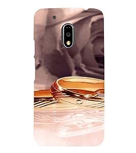 PrintVisa Gold Wedding Rings 3D Hard Polycarbonate Designer Back Case Cover for Motorola Moto G4 PLAY