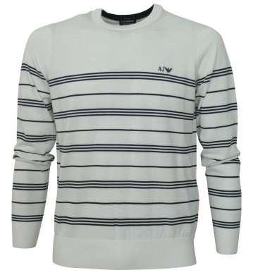 Armani Jeans Mens Crew Neck Striped Jumper Cream/Navy Large