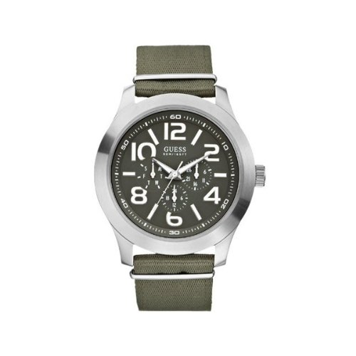 Guess W10617G1 - Reloj analógico de cuarzo para hombre, correa de tela color verde