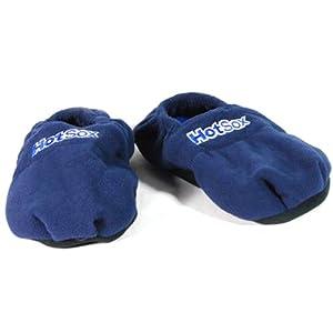 Hot Sox® Chaussons Chauffants Micro ondes - Graines de Lin - Bleu 41/45 + HOUSSE HYGIENE