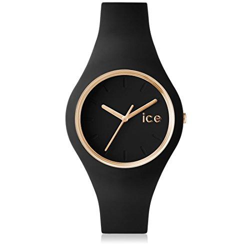 Ice Watch Glam Orologio da Polso, Quadrante Analogico da Donna, Cinturino in Silicone, Nero