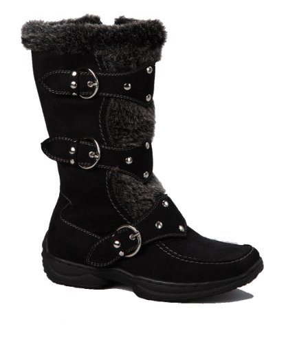 Jessica 82K Little Girls Shearling Boots Black 4