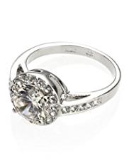 M&S Collection Platinum Plated Diamanté Ring