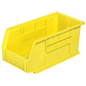 Akro-Mils 30230 Plastic Storage Stacking Hanging Akro Bin, 11-Inch by 5-Inch by 5-Inch, Yellow, Case of 12