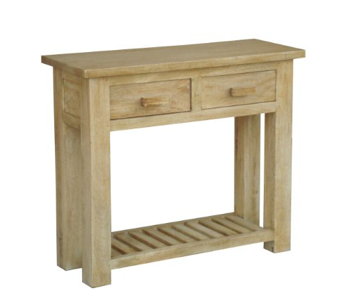 Homescapes - Mangat - Small Console Table - 100% Mango Wood Furniture - Oak Shade - 90 x 35 x 78 cm - With 2 Drawers and a Storage Shelf