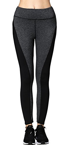 Neonysweets Womens Running Yoga Pants Workout Leggings With Pocket Black Gray L